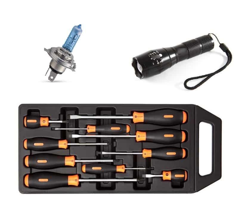 Необходимый набор инструментов для снятия лампы