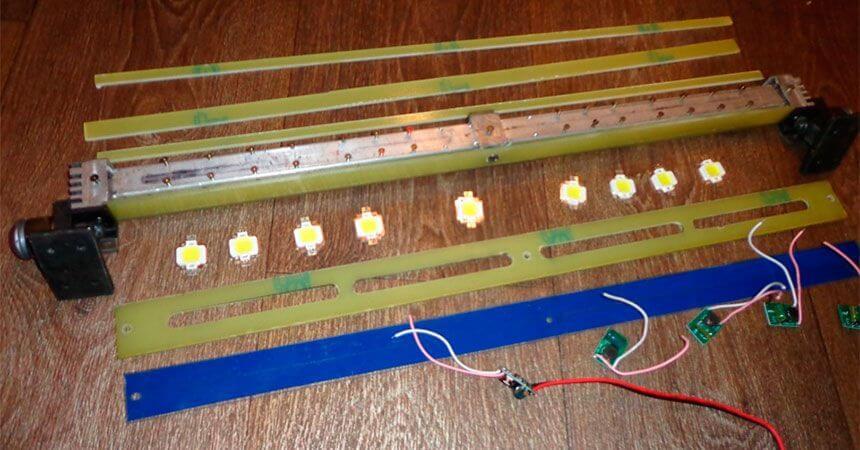 Монтаж диодных ламп на профиле балки