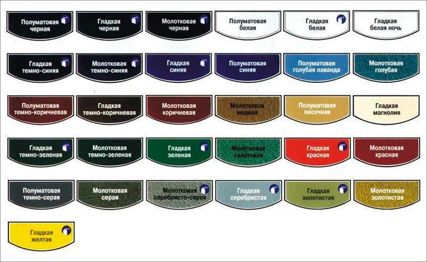 Какие могут быть оттенки красок Хаммерайт