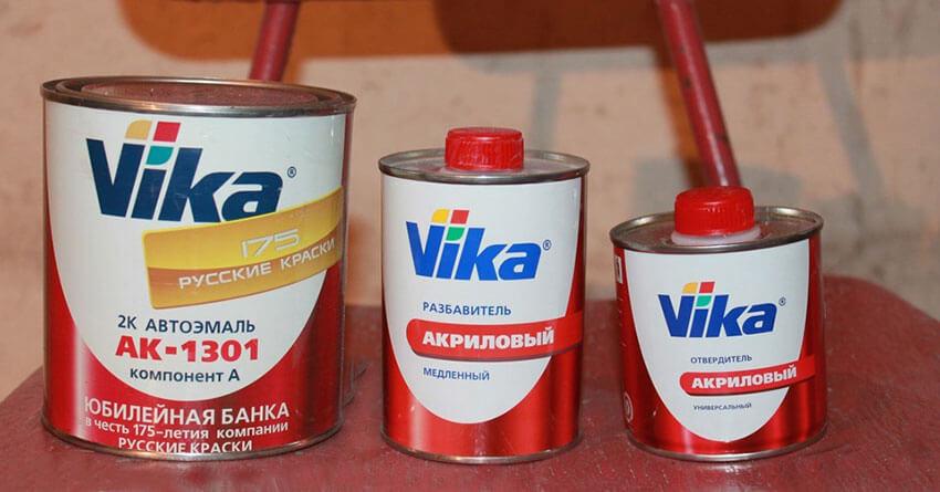 Автоэмали Vika в комплекте с растворителем