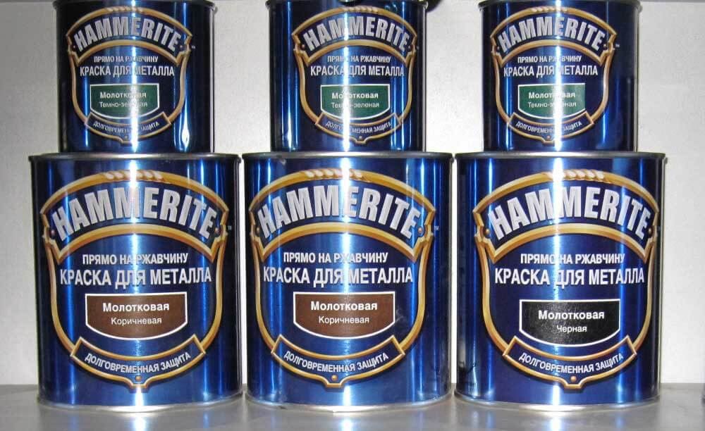 Краска Хамерайт разных цветов в разных упаковках