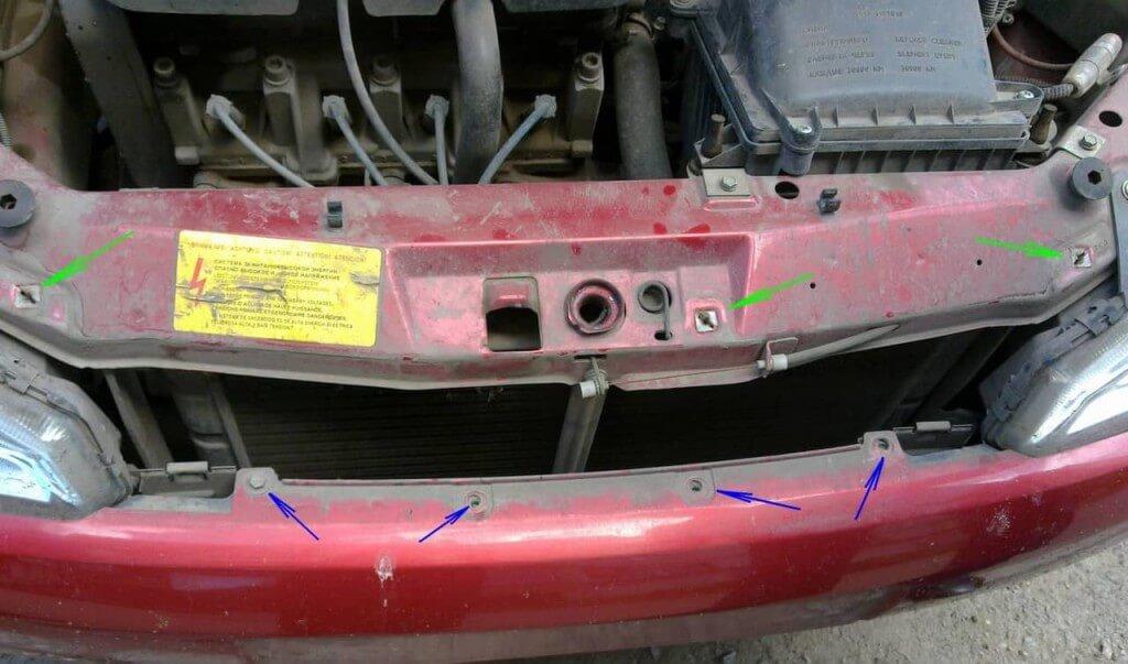Точки крепления радиаторной решетки и переднего бампера