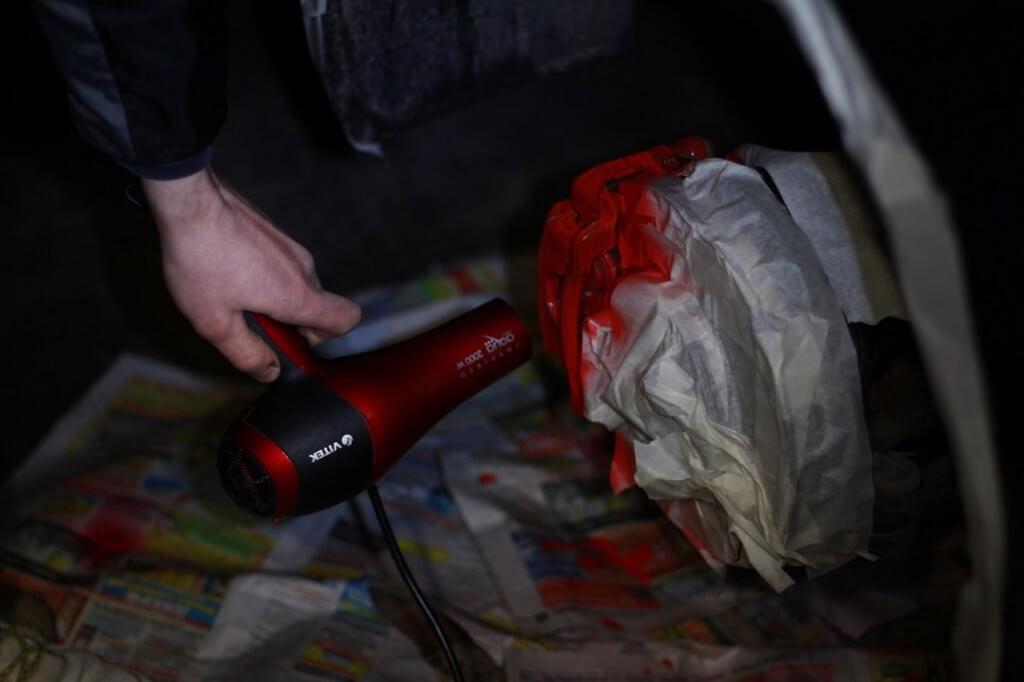 Сушка перед повторным нанесением краски