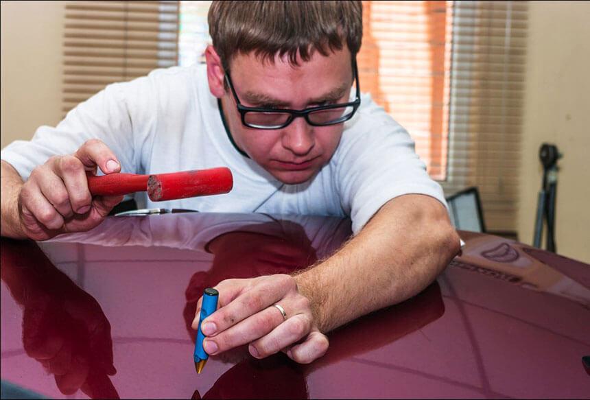 Работа PDR инструментом с кузовам автомобиля