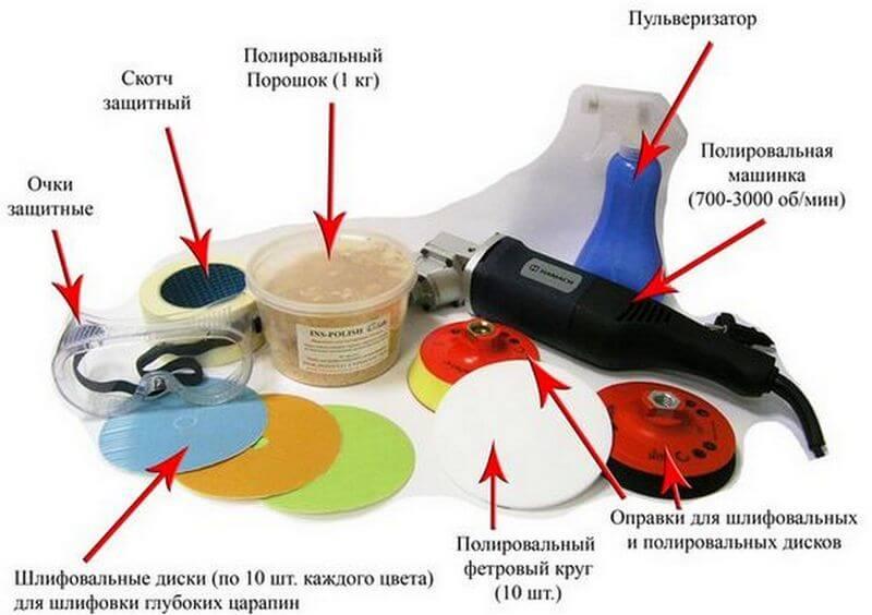 Необходимый инструмент для шпаклевания машины
