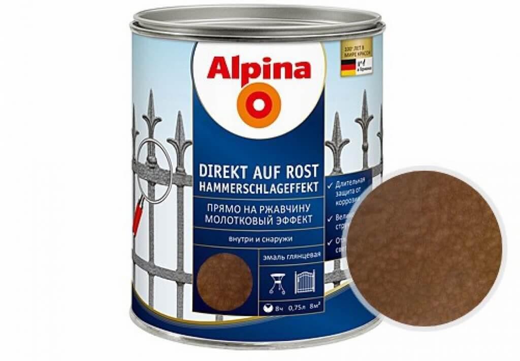 Молотковая эмаль по ржавчине Alpina коричневая