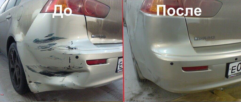 Ремонт бампера до и после