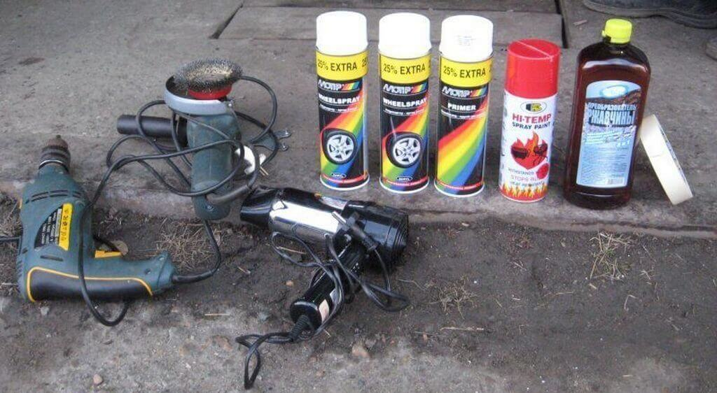 Материалы и инструменты для покраски дисков