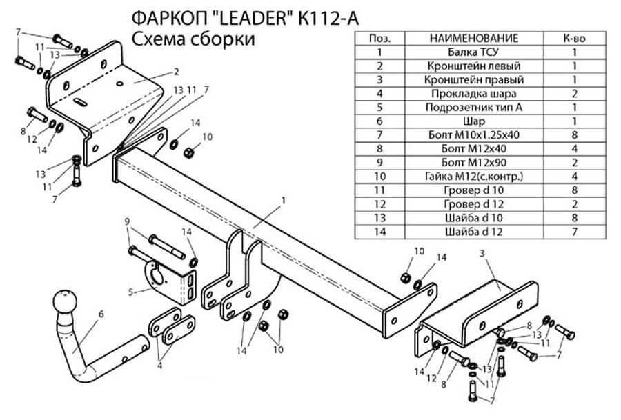 Схема-чертеж фаркопа Лидер для Киа Спортейдж 3