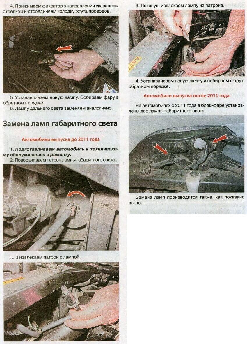 Замена ламп габаритного света Nissan X-Trail T31