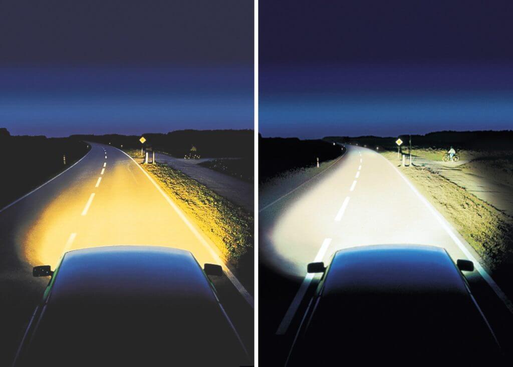 H4 – двухнитевая лампа. В зависимости от того, какая из нитей излучает свет, лампа работает в режиме либо дальнего, либо ближнего света