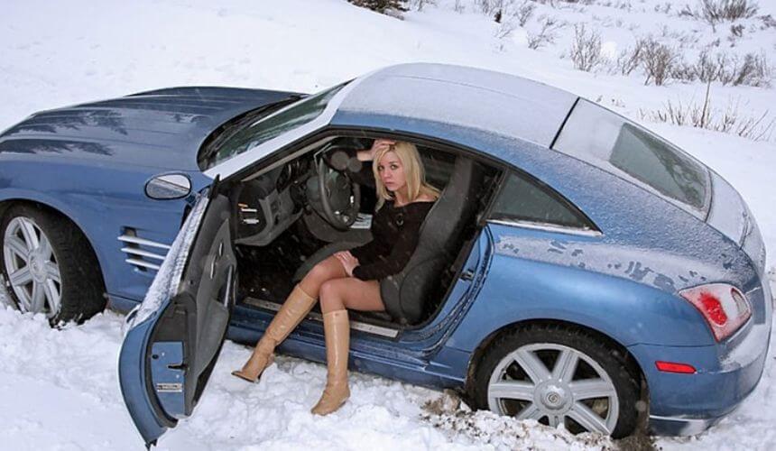 Езда на машине зимой