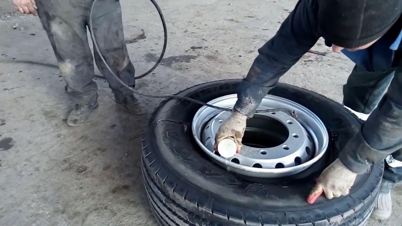 Накачивание колеса бензином