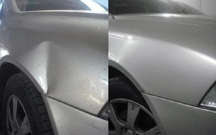 Вмятина на авто до и после ремонта