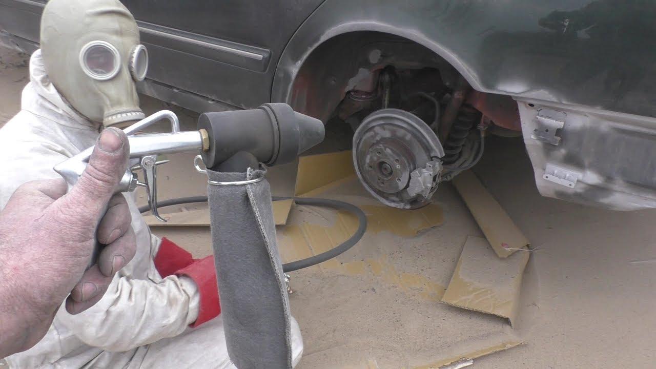Зачистка пескоструем дисков колес