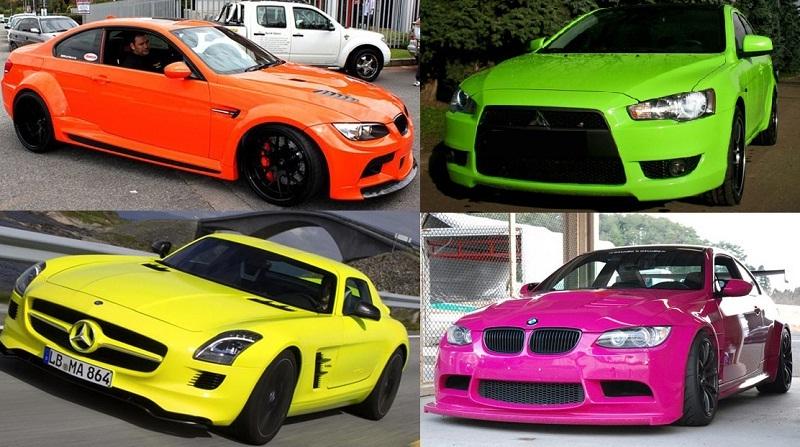 Красная, зеленая, желтая и розовая машина