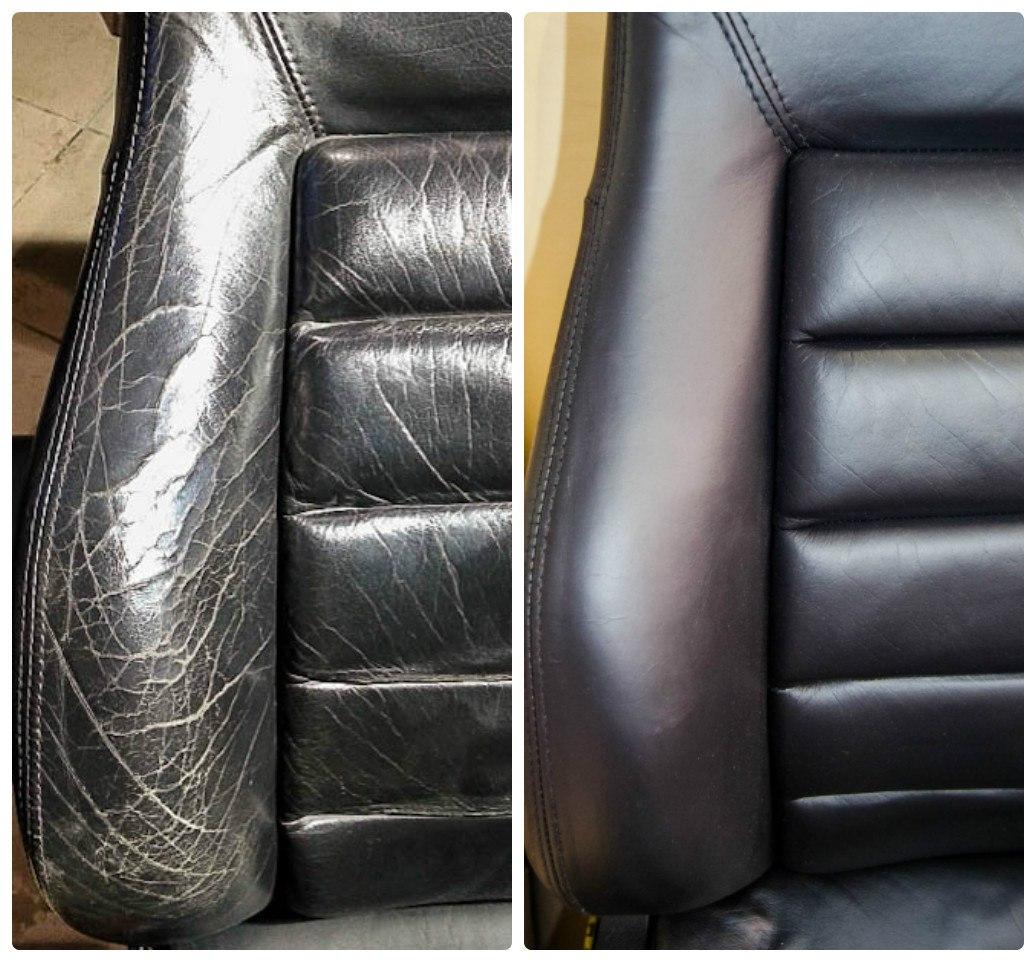 Обивка из кожи до и после ремонта