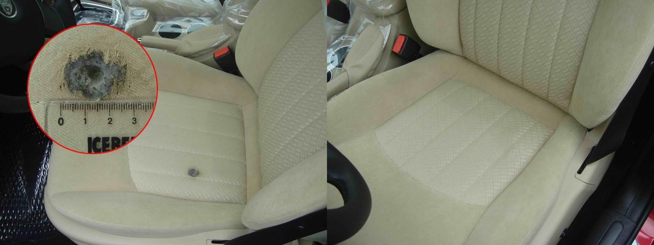 Обивка кресла авто до и после ремонта