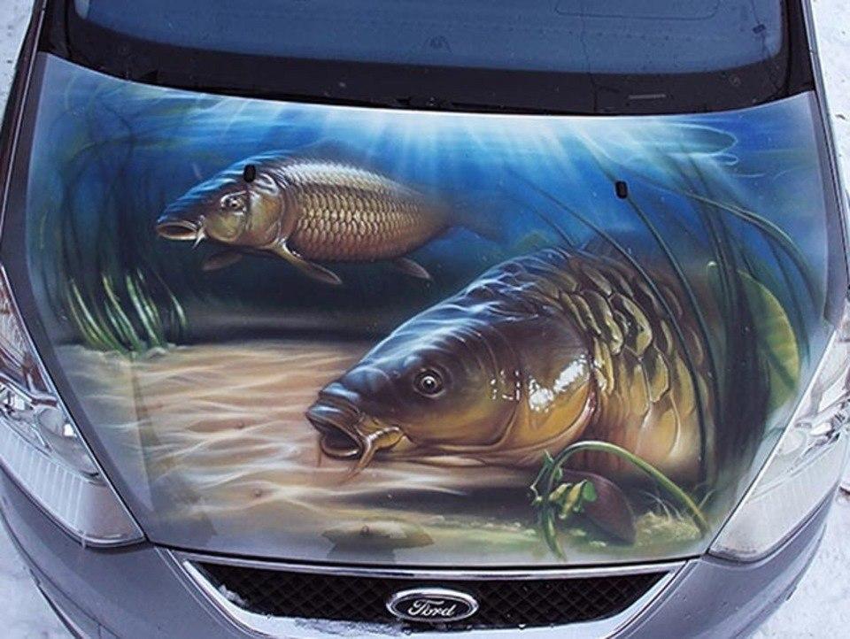 Аэрография на авто, рыба