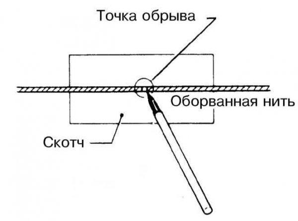 Схема ремонта обрыва нити обогревателя