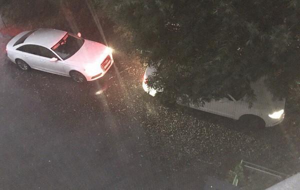 Авто под деревьями и град