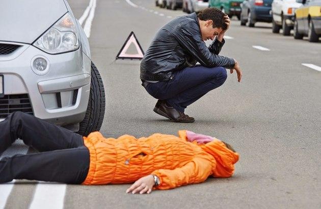 Сбитый пешеход и водитель