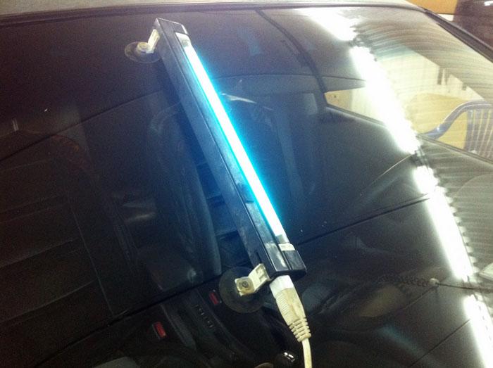 Сушка лампой стекла авто