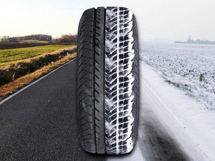 Колесо катится по летней и зимней дороге