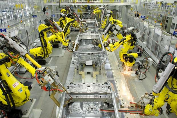 Роботы в кузовном цеху Порше