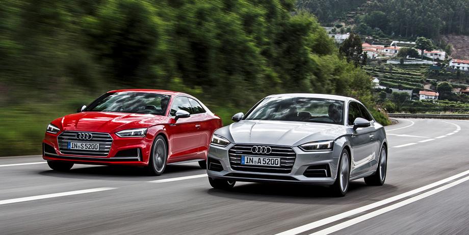 Красная и серая Audi A5 и A4