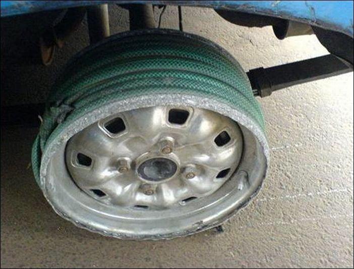 Шланг на колесе вместо покрышки