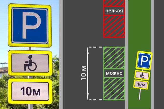 Общая парковка со знаком для инвалидов