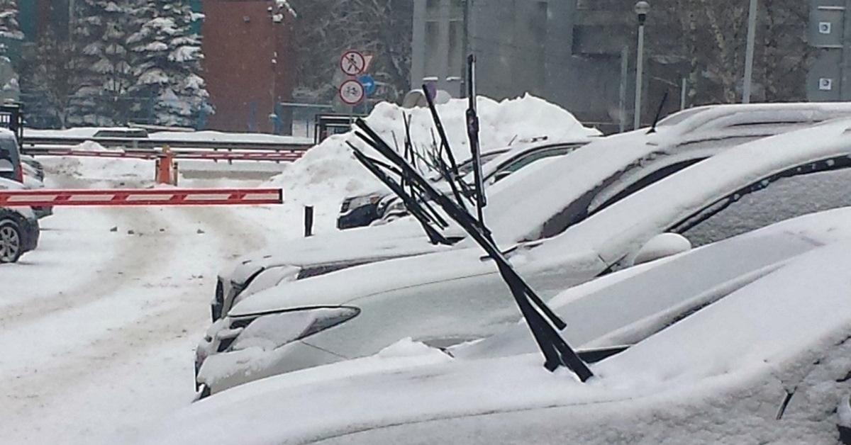 Машины в снегу с поднятыми дворниками