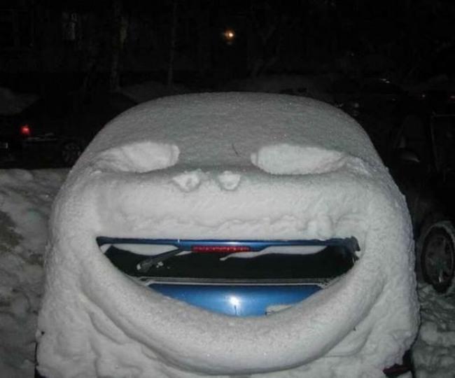 Снежная морда из сугроба и машина
