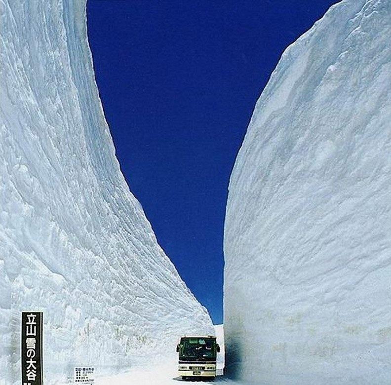 Горы снега по обочинам дороги