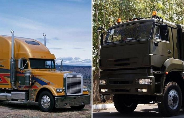 Американский и европейский грузовик