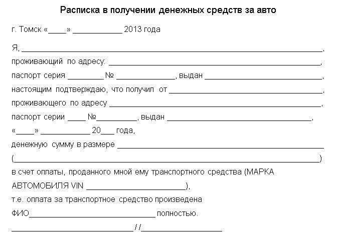 Шаблон расписки о получении денег