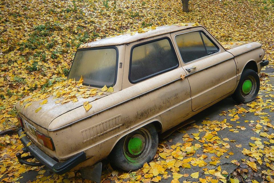 Старое авто в листьях