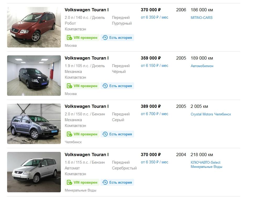 Volkswagen Touran I с ценами