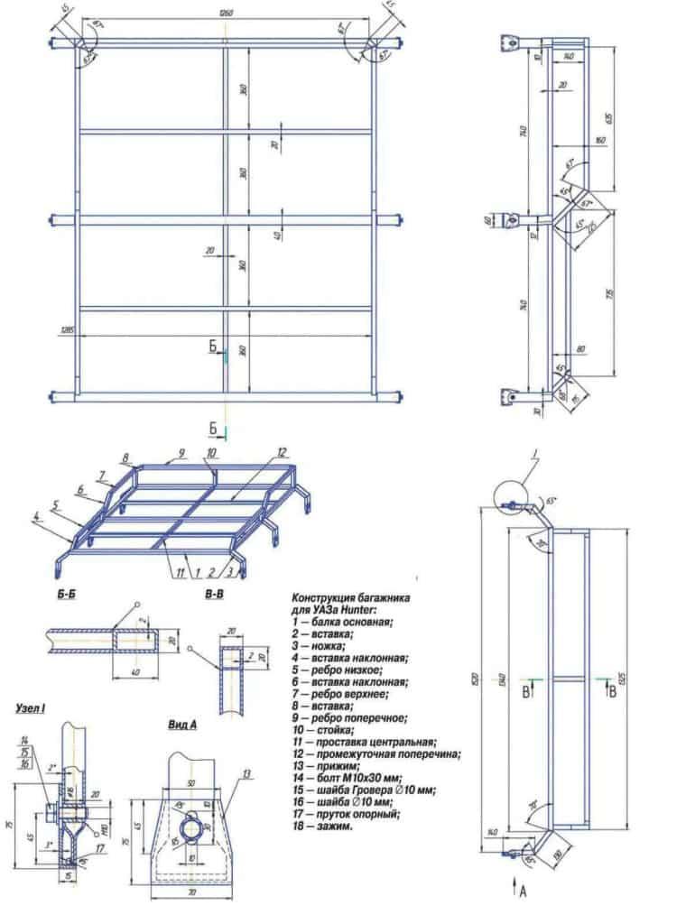 Схема багажника на УАЗ