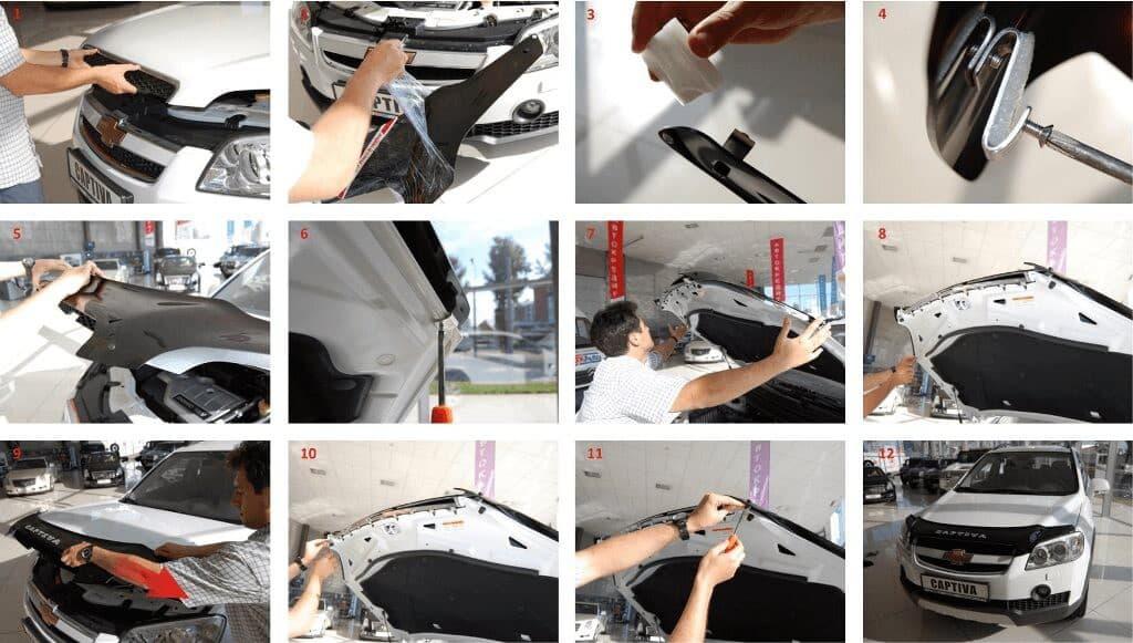 Процесс установки дефлектора на капот автомобиля