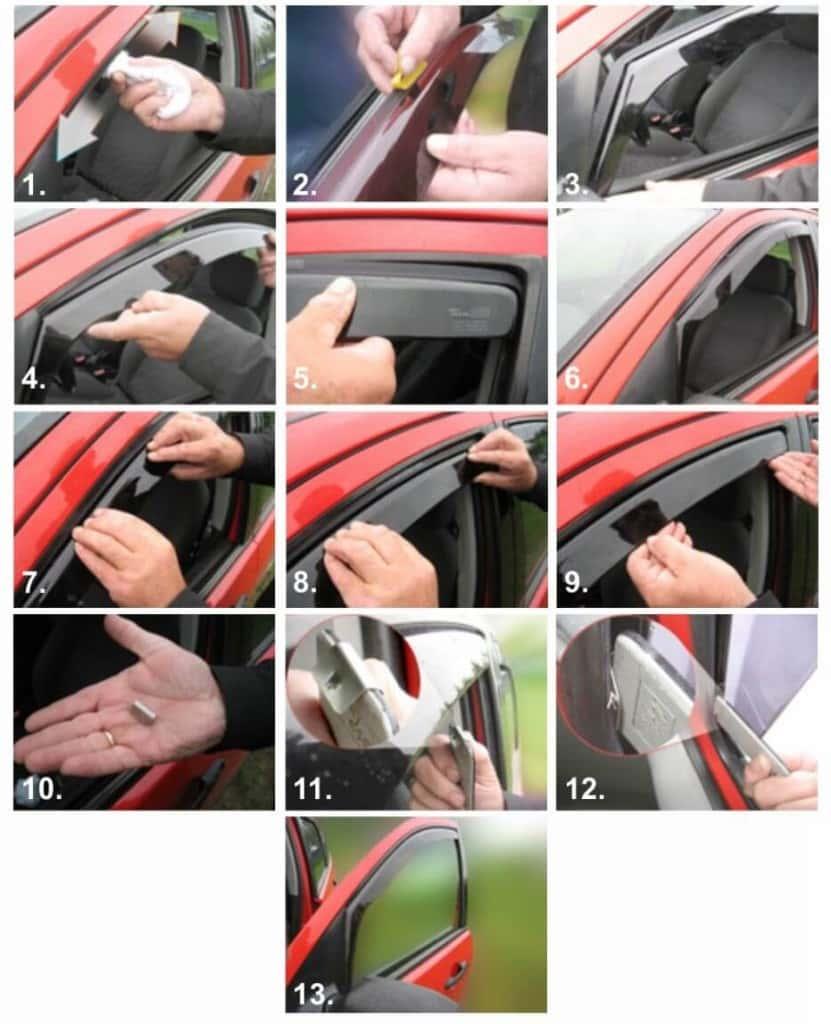 Процесс установки дефлекторов на окна автомобиля