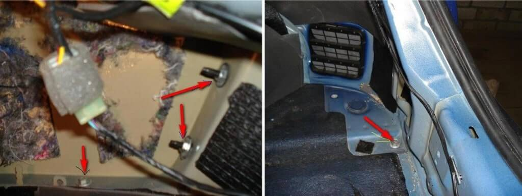 Шаг №3 - Откручиваем винты в багажнике автомобиля
