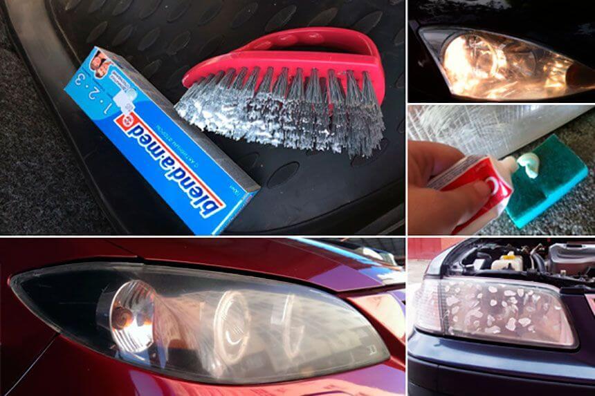 Полировка пластиковых фар зубной пастой