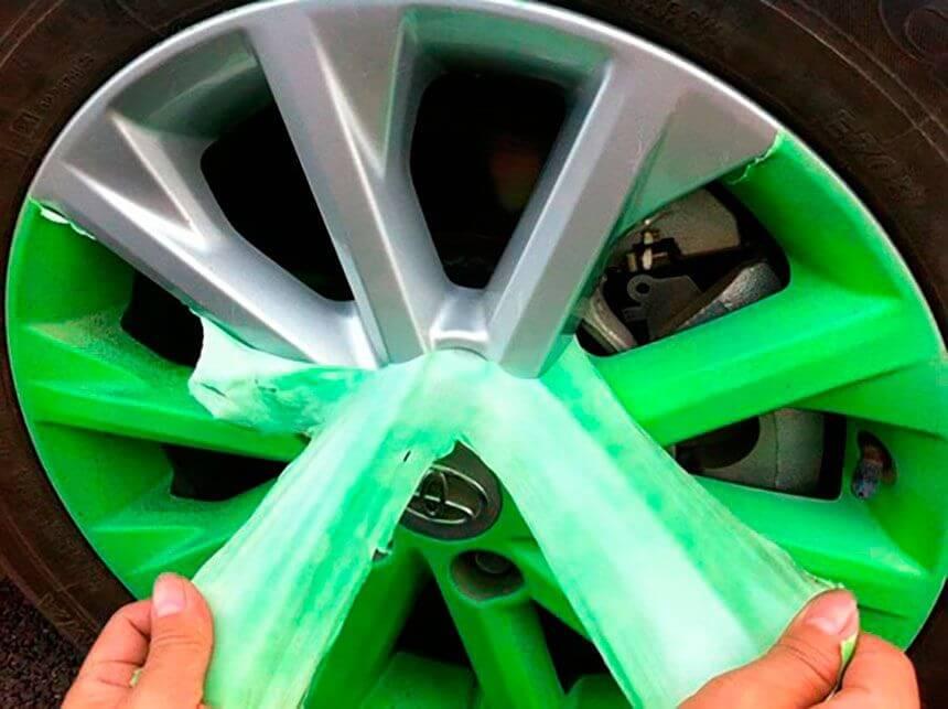 Покраска дисков жидкой резиной зеленого цвета