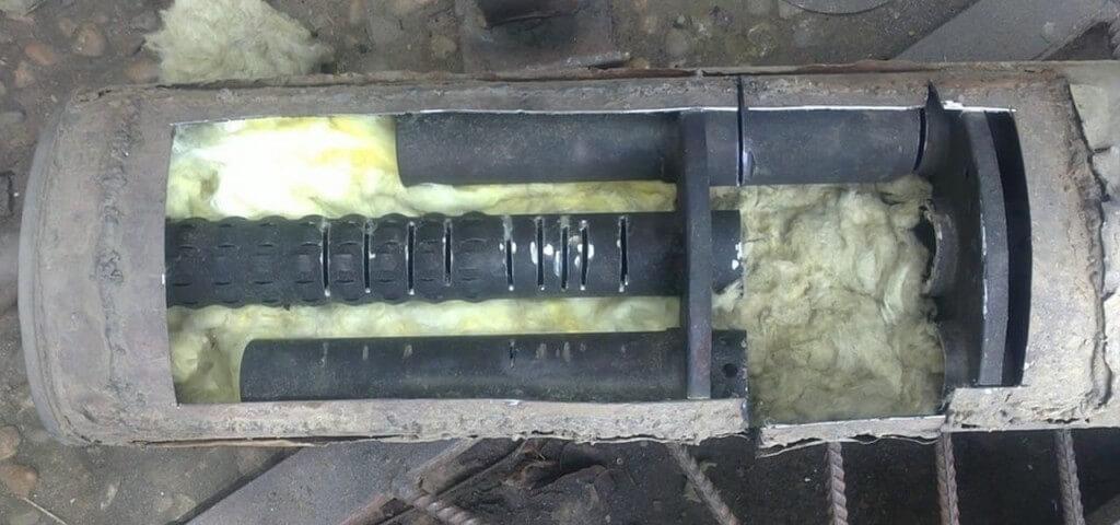 Прямоточный глушитель в разрезе