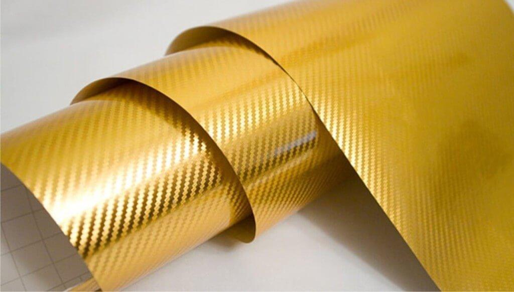 Золотая пленка под 3D карбон