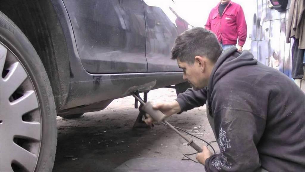 Как выпрямить порог автомобиля своими руками