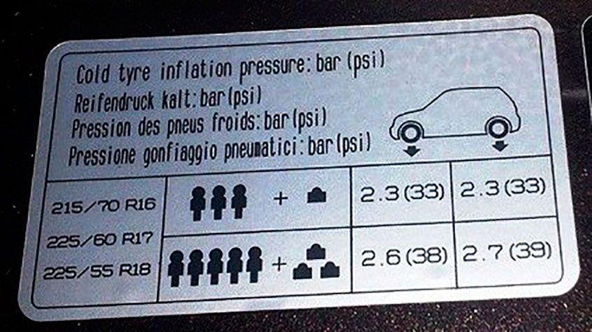 Таблица давления воздуха Киа Спортаж 3