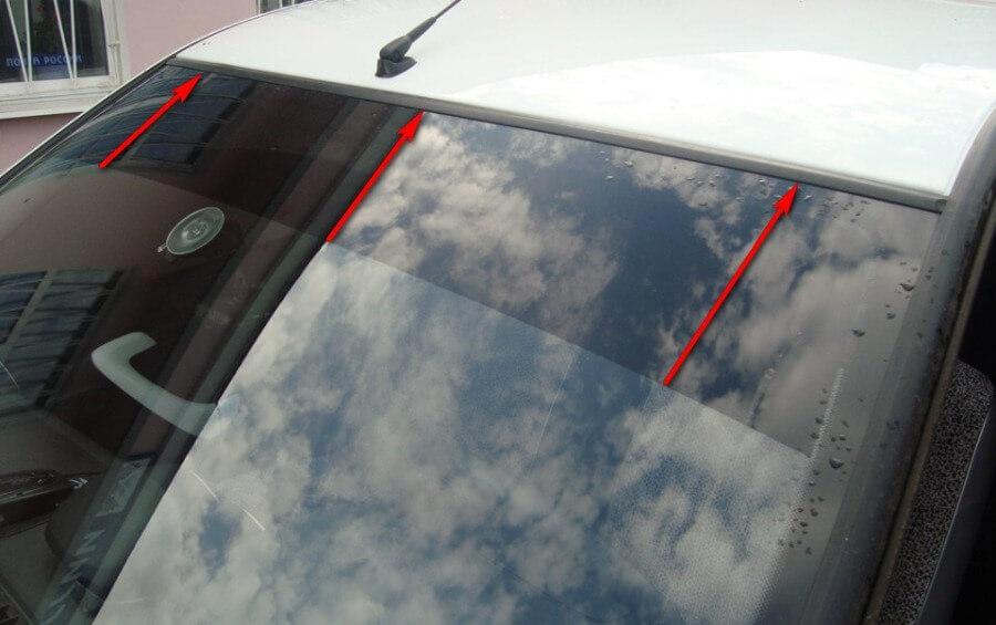 Тонировка лобового стекла при помощи светозащитной полосы